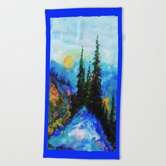 Mountain Blues Painting Beach Towel
