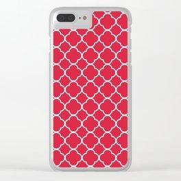 Clover Quatrefoil Pattern: Red Clear iPhone Case