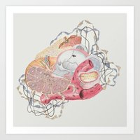 medical Art Prints featuring Collage with Medical Illustration by Angela Barr