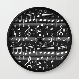 Music Notes Pattern Wall Clock