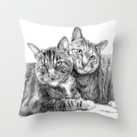 arya Throw Pillows featuring Arya and Dante portrait by Rushelle Kucala Art