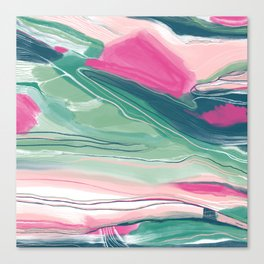 Sea cliffs abstract in pink and green Canvas Print