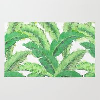 banana leaf Area & Throw Rugs featuring Banana for banana leaf by Indulgencedecor