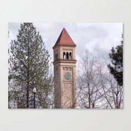 Beautiful Old Clock Tower In Spokane, Washington, Vintage Train Station Clock Tower Canvas Print