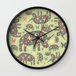Rhinos Pattern Wall Clock