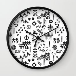 Peoples Story - Black on White Wall Clock
