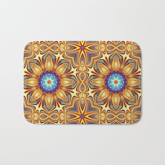Kaleidoscope abstract with a flower shape and tribal patterns Bath Mat
