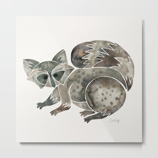 Raccoon – Warm Grey Palette Metal Print