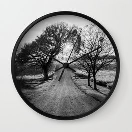 Best Farm Tree Backlit In The Fall Wall Clock