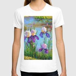 Irises at the pond T-shirt