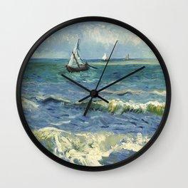 Seascape near Les Saintes Maries de la Mer by Vincent van Gogh Wall Clock