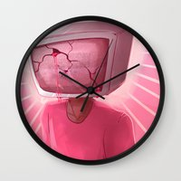 cracked Wall Clocks featuring cracked. by Zombie Rufio