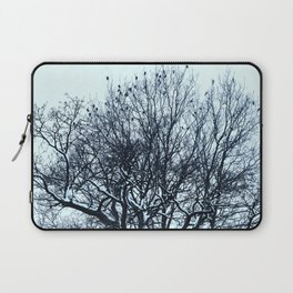 A flock of birds sitting on a tree on a winter day. Laptop Sleeve