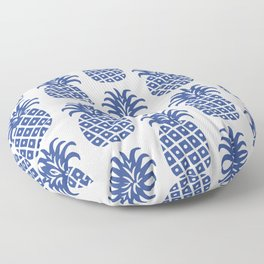 Retro Mid Century Modern Pineapple Pattern Blue Floor Pillow