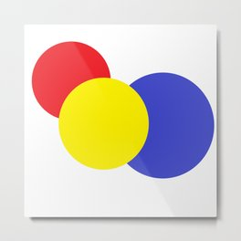 Red Yellow Blue mod circles Metal Print
