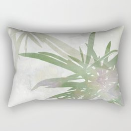 Olive Green Palm Leaves Watercolor Painting Rectangular Pillow