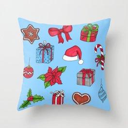 Christmas pattern (#1 blue) Throw Pillow