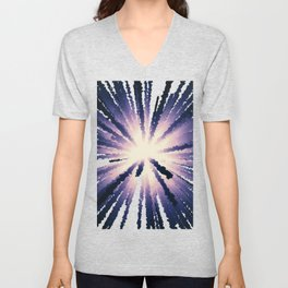 Abstract light of lilac rays. Unisex V-Neck