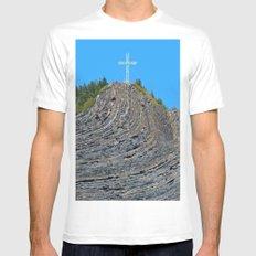 Bent rock Mountain cross MEDIUM White Mens Fitted Tee