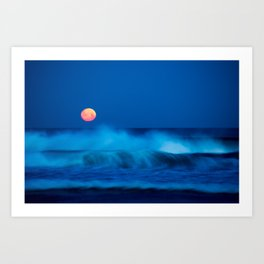 red moon above Art Print