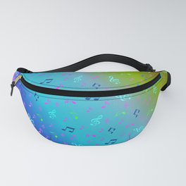 colorful blue music notes abstract, art, artistic, background, bass, beautiful, classical, clef, cre Fanny Pack