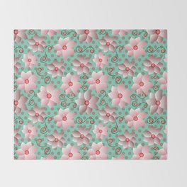 Blossoms in Strawberry Ice Throw Blanket