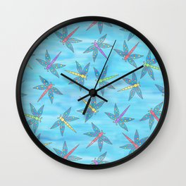 Sweet Dragonfly Skies Wall Clock