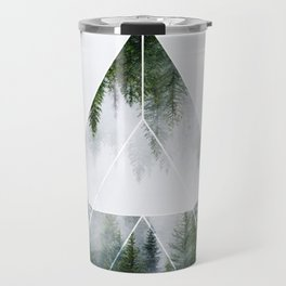 Sacred Geometry in Nature, Green Forest Geometric Triangle Travel Mug