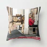 donkey Throw Pillows featuring Donkey by Joëlle Paquet