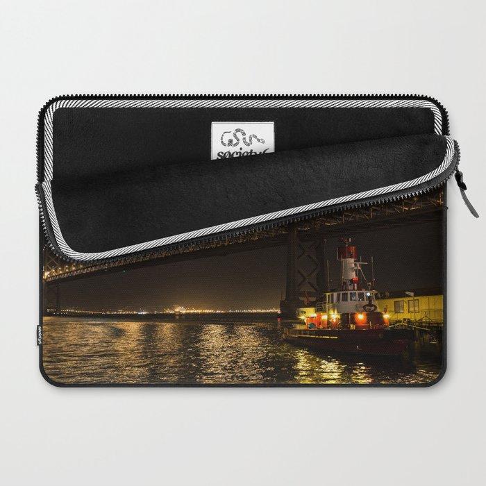 Bay Bridge Fire Boat at Night Laptop Sleeve