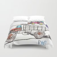 pocket fuel Duvet Covers featuring Taking on Fuel by Ryan van Gogh