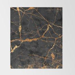 Black Malachite Marble With Gold Veins Throw Blanket
