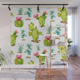 Green Cactus Watercolor Wall Mural