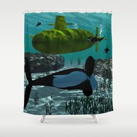 yellow submarine Shower Curtains featuring Submarine by nicky2342