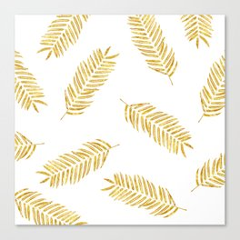 Gold Leaves Pattern Canvas Print