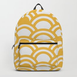 Yellow & White Half Circle Pattern Backpack