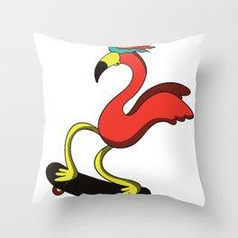 Skater Flamingo with Cap Throw Pillow