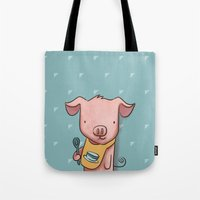 piglet Tote Bags featuring Hungry Piglet by Hop & Flop