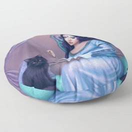 Ariadne Butterfly Peacock Fairy & Cat Floor Pillow