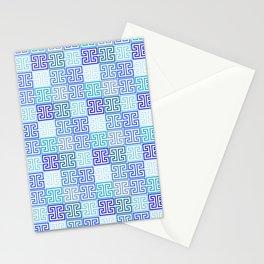 Greek Keys in Monochrome Blue Multi Stationery Cards