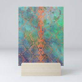 Snake Skin Animal Print - Abstract Design Peach & Green Teal Mini Art Print