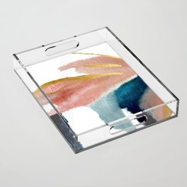 Exhale: a pretty, minimal, acrylic piece in pinks, blues, and gold Acrylic Tray