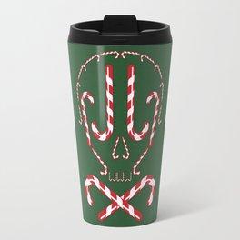 Candy Cane Holiday Skull Travel Mug