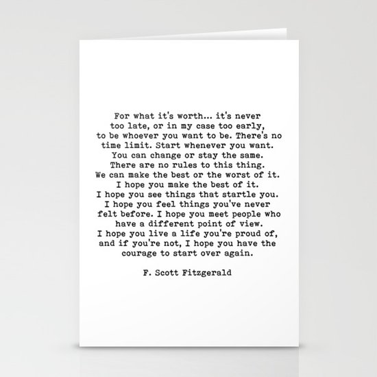 Life quote, For what it's worth, F. Scott Fitzgerald Quote by theartshed