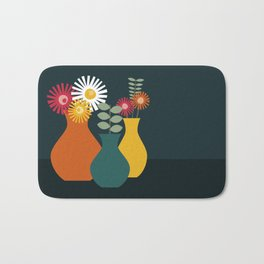 Flower Vases on Dark Background Bath Mat