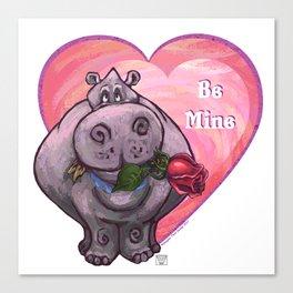 Hippopotamus Valentine's Day Canvas Print