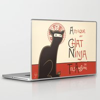 posters Laptop & iPad Skins featuring A French Ninja Cat (Le Chat Ninja) by Kyle Walters