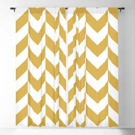 SPICY MUSTARD AND WHITE ZIG ZAG ARROWS CHEVRON PATTERN  Blackout Curtain