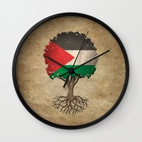 palestine Wall Clocks featuring Vintage Tree of Life with Flag of Palestine by Jeff Bartels