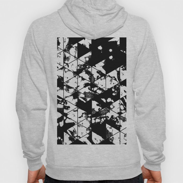 Splatter Triangles - Black and white, abstract, paint splat, triangular pattern Hoody